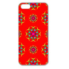 Rainbow Colors Geometric Circles Seamless Pattern On Red Background Apple Seamless Iphone 5 Case (clear) by BangZart