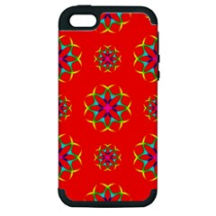 Rainbow Colors Geometric Circles Seamless Pattern On Red Background Apple Iphone 5 Hardshell Case (pc+silicone) by BangZart