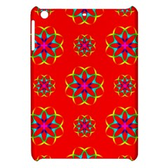 Rainbow Colors Geometric Circles Seamless Pattern On Red Background Apple Ipad Mini Hardshell Case by BangZart