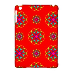 Rainbow Colors Geometric Circles Seamless Pattern On Red Background Apple Ipad Mini Hardshell Case (compatible With Smart Cover) by BangZart