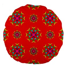 Rainbow Colors Geometric Circles Seamless Pattern On Red Background Large 18  Premium Round Cushions by BangZart