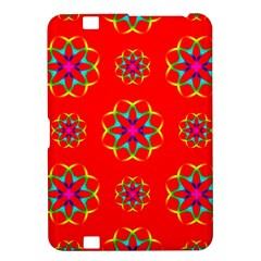 Rainbow Colors Geometric Circles Seamless Pattern On Red Background Kindle Fire Hd 8 9  by BangZart
