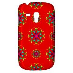 Rainbow Colors Geometric Circles Seamless Pattern On Red Background Galaxy S3 Mini by BangZart