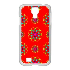 Rainbow Colors Geometric Circles Seamless Pattern On Red Background Samsung Galaxy S4 I9500/ I9505 Case (white) by BangZart