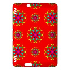 Rainbow Colors Geometric Circles Seamless Pattern On Red Background Kindle Fire Hdx Hardshell Case by BangZart