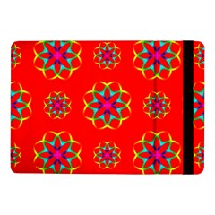 Rainbow Colors Geometric Circles Seamless Pattern On Red Background Samsung Galaxy Tab Pro 10 1  Flip Case by BangZart