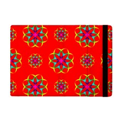 Rainbow Colors Geometric Circles Seamless Pattern On Red Background Ipad Mini 2 Flip Cases by BangZart