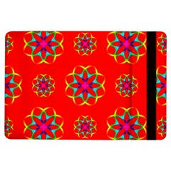 Rainbow Colors Geometric Circles Seamless Pattern On Red Background Ipad Air Flip