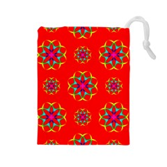 Rainbow Colors Geometric Circles Seamless Pattern On Red Background Drawstring Pouches (large)  by BangZart
