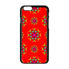 Rainbow Colors Geometric Circles Seamless Pattern On Red Background Apple Iphone 6/6s Black Enamel Case by BangZart