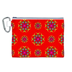 Rainbow Colors Geometric Circles Seamless Pattern On Red Background Canvas Cosmetic Bag (l) by BangZart