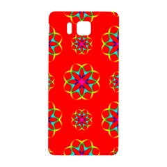 Rainbow Colors Geometric Circles Seamless Pattern On Red Background Samsung Galaxy Alpha Hardshell Back Case