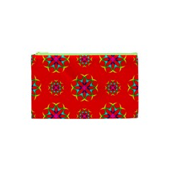 Rainbow Colors Geometric Circles Seamless Pattern On Red Background Cosmetic Bag (xs) by BangZart