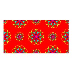 Rainbow Colors Geometric Circles Seamless Pattern On Red Background Satin Shawl