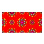 Rainbow Colors Geometric Circles Seamless Pattern On Red Background Satin Shawl Front