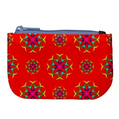 Rainbow Colors Geometric Circles Seamless Pattern On Red Background Large Coin Purse by BangZart