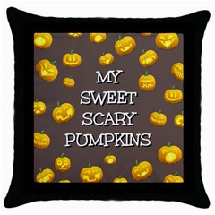 Hallowen My Sweet Scary Pumkins Throw Pillow Case (black) by BangZart