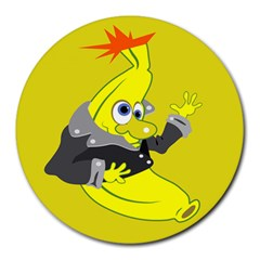 Funny Cartoon Punk Banana Illustration Round Mousepads