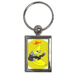 Funny Cartoon Punk Banana Illustration Key Chains (rectangle)  by BangZart