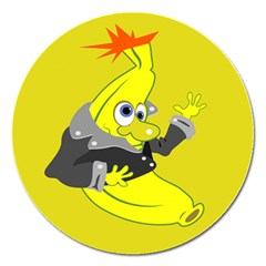 Funny Cartoon Punk Banana Illustration Magnet 5  (round)