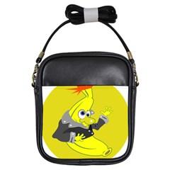 Funny Cartoon Punk Banana Illustration Girls Sling Bags