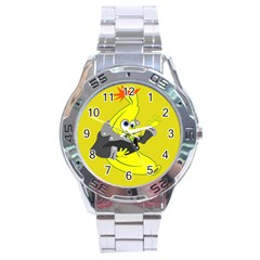 Funny Cartoon Punk Banana Illustration Stainless Steel Analogue Watch by BangZart