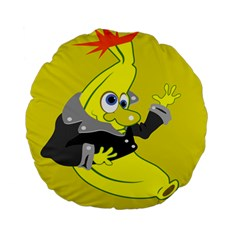 Funny Cartoon Punk Banana Illustration Standard 15  Premium Round Cushions by BangZart