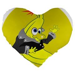 Funny Cartoon Punk Banana Illustration Large 19  Premium Heart Shape Cushions by BangZart