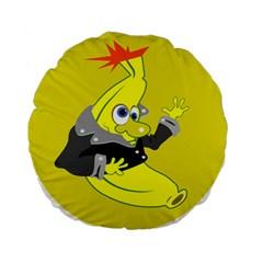 Funny Cartoon Punk Banana Illustration Standard 15  Premium Flano Round Cushions