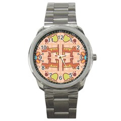 Pet Dog Design  Tileable Doodle Dog Art Sport Metal Watch