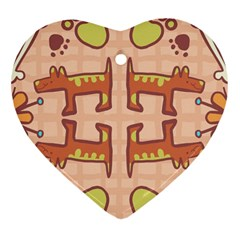 Pet Dog Design  Tileable Doodle Dog Art Heart Ornament (two Sides)