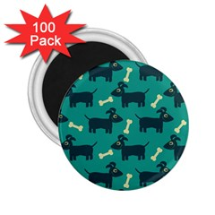 Happy Dogs Animals Pattern 2 25  Magnets (100 Pack)  by BangZart