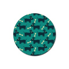 Happy Dogs Animals Pattern Rubber Coaster (round)  by BangZart