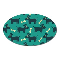 Happy Dogs Animals Pattern Oval Magnet by BangZart