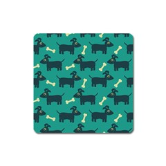 Happy Dogs Animals Pattern Square Magnet