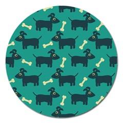 Happy Dogs Animals Pattern Magnet 5  (round)