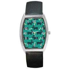 Happy Dogs Animals Pattern Barrel Style Metal Watch