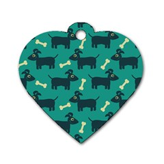 Happy Dogs Animals Pattern Dog Tag Heart (two Sides)