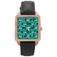 Happy Dogs Animals Pattern Rose Gold Leather Watch