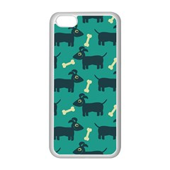 Happy Dogs Animals Pattern Apple Iphone 5c Seamless Case (white) by BangZart