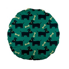 Happy Dogs Animals Pattern Standard 15  Premium Flano Round Cushions by BangZart