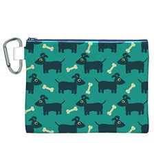 Happy Dogs Animals Pattern Canvas Cosmetic Bag (xl) by BangZart