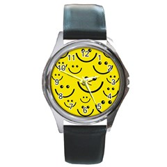 Digitally Created Yellow Happy Smile  Face Wallpaper Round Metal Watch