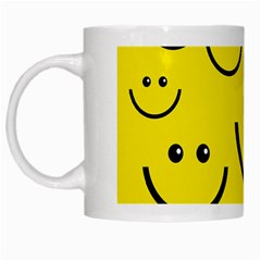 Digitally Created Yellow Happy Smile  Face Wallpaper White Mugs by BangZart