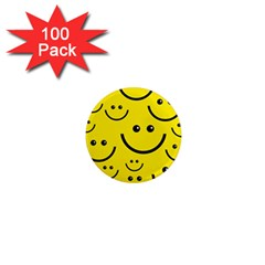 Digitally Created Yellow Happy Smile  Face Wallpaper 1  Mini Magnets (100 Pack)  by BangZart