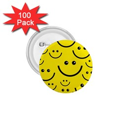 Digitally Created Yellow Happy Smile  Face Wallpaper 1 75  Buttons (100 Pack)