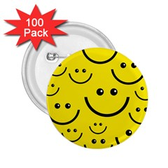 Digitally Created Yellow Happy Smile  Face Wallpaper 2 25  Buttons (100 Pack)