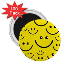 Digitally Created Yellow Happy Smile  Face Wallpaper 2 25  Magnets (100 Pack)  by BangZart
