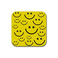Digitally Created Yellow Happy Smile  Face Wallpaper Rubber Square Coaster (4 Pack)  by BangZart