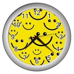 Digitally Created Yellow Happy Smile  Face Wallpaper Wall Clocks (silver)  by BangZart